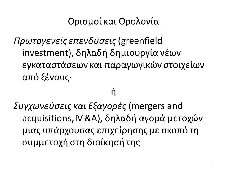 Ορισμοί και Ορολογία Πρωτογενείς επενδύσεις (greenfield investment), δηλαδή δημιουργία νέων εγκαταστάσεων και παραγωγικών στοιχείων από ξένους· ή Συγχωνεύσεις και Εξαγορές (mergers and acquisitions, M&A), δηλαδή αγορά μετοχών μιας υπάρχουσας επιχείρησης με σκοπό τη συμμετοχή στη διοίκησή της 31