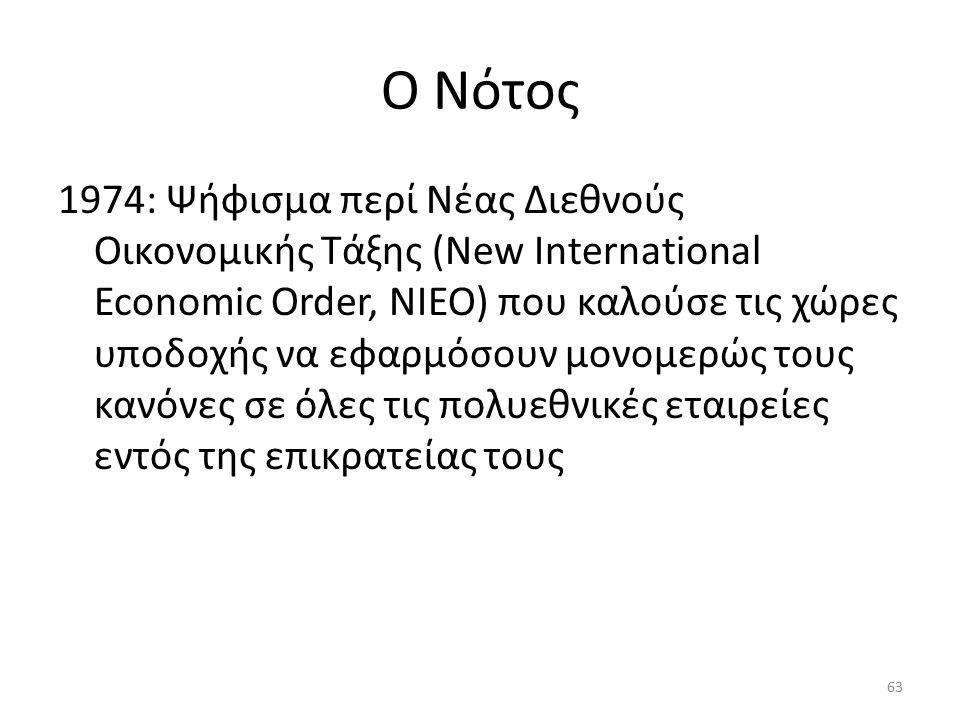 Ο Νότος 1974: Ψήφισμα περί Νέας Διεθνούς Οικονομικής Τάξης (New International Economic Order, NIEO) που καλούσε τις χώρες υποδοχής να εφαρμόσουν μονομερώς τους κανόνες σε όλες τις πολυεθνικές εταιρείες εντός της επικρατείας τους 63