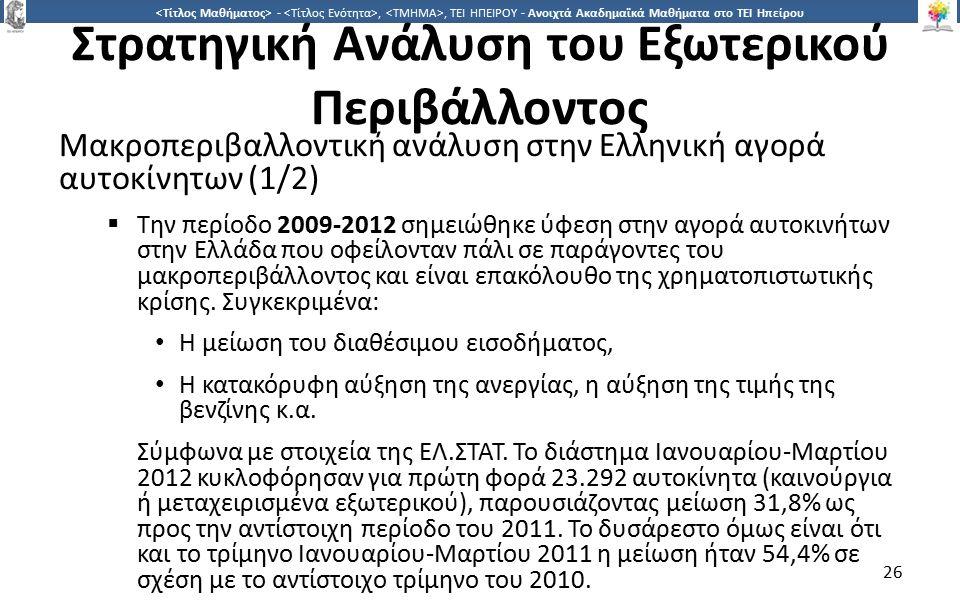 2626 -,, ΤΕΙ ΗΠΕΙΡΟΥ - Ανοιχτά Ακαδημαϊκά Μαθήματα στο ΤΕΙ Ηπείρου Στρατηγική Ανάλυση του Εξωτερικού Περιβάλλοντος Μακροπεριβαλλοντική ανάλυση στην Ελληνική αγορά αυτοκίνητων (1/2)  Την περίοδο 2009-2012 σημειώθηκε ύφεση στην αγορά αυτοκινήτων στην Ελλάδα που οφείλονταν πάλι σε παράγοντες του μακροπεριβάλλοντος και είναι επακόλουθο της χρηματοπιστωτικής κρίσης.