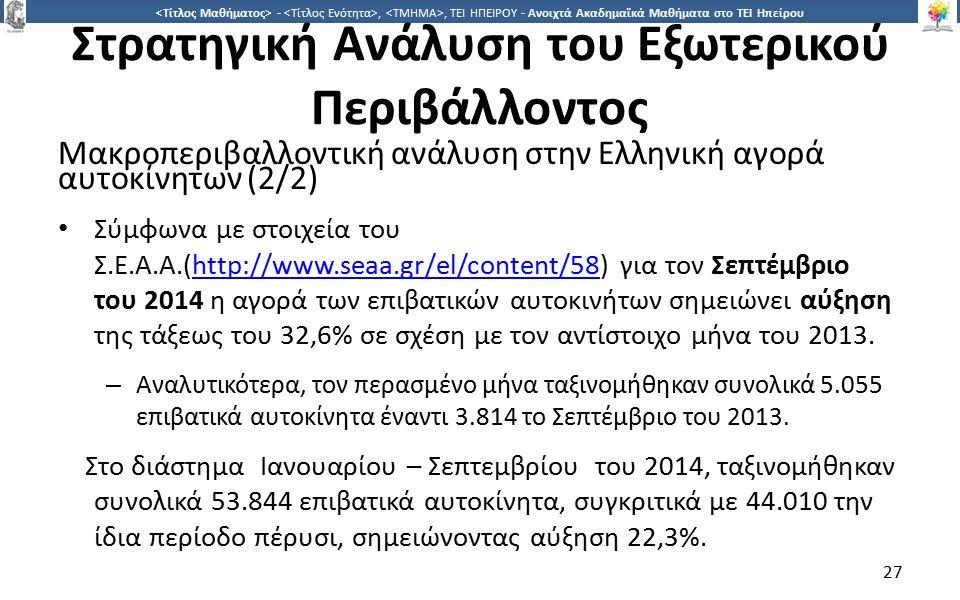 2727 -,, ΤΕΙ ΗΠΕΙΡΟΥ - Ανοιχτά Ακαδημαϊκά Μαθήματα στο ΤΕΙ Ηπείρου Στρατηγική Ανάλυση του Εξωτερικού Περιβάλλοντος Μακροπεριβαλλοντική ανάλυση στην Ελληνική αγορά αυτοκίνητων (2/2) Σύμφωνα με στοιχεία του Σ.Ε.Α.Α.(http://www.seaa.gr/el/content/58) για τον Σεπτέμβριο του 2014 η αγορά των επιβατικών αυτοκινήτων σημειώνει αύξηση της τάξεως του 32,6% σε σχέση με τον αντίστοιχο μήνα του 2013.http://www.seaa.gr/el/content/58 – Αναλυτικότερα, τον περασμένο μήνα ταξινομήθηκαν συνολικά 5.055 επιβατικά αυτοκίνητα έναντι 3.814 το Σεπτέμβριο του 2013.