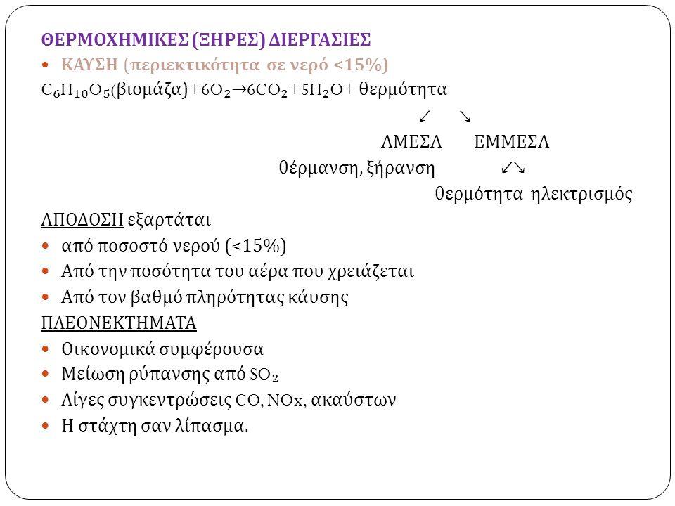 ΘΕΡΜΟΧΗΜΙΚΕΣ ( ΞΗΡΕΣ ) ΔΙΕΡΓΑΣΙΕΣ ΚΑΥΣΗ ( περιεκτικότητα σε νερό <15%) C ₆ H ₁₀ O ₅ ( βιομάζα )+6O ₂ → 6CO ₂ +5H ₂ O+ θερμότητα ↙ ↘ ΑΜΕΣΑ ΕΜΜΕΣΑ θέρμανση, ξήρανση ↙↘ θερμότητα ηλεκτρισμός ΑΠΟΔΟΣΗ εξαρτάται από ποσοστό νερού (<15%) Από την ποσότητα του αέρα που χρειάζεται Από τον βαθμό πληρότητας κάυσης ΠΛΕΟΝΕΚΤΗΜΑΤΑ Οικονομικά συμφέρουσα Μείωση ρύπανσης από SO ₂ Λίγες συγκεντρώσεις CO, NOx, ακαύστων Η στάχτη σαν λίπασμα.