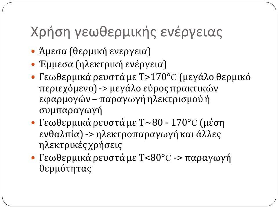 Χρήση γεωθερμικής ενέργειας Άμεσα ( θερμική ενεργεια ) Έμμεσα ( ηλεκτρική ενέργεια ) Γεωθερμικά ρευστά με Τ >170°C ( μεγάλο θερμικό περιεχόμενο ) -> μεγάλο εύρος πρακτικών εφαρμογών – παραγωγή ηλεκτρισμού ή συμπαραγωγή Γεωθερμικά ρευστά με Τ ~80 - 170°C ( μέση ενθαλπία ) -> ηλεκτροπαραγωγή και άλλες ηλεκτρικές χρήσεις Γεωθερμικά ρευστά με Τ παραγωγή θερμότητας