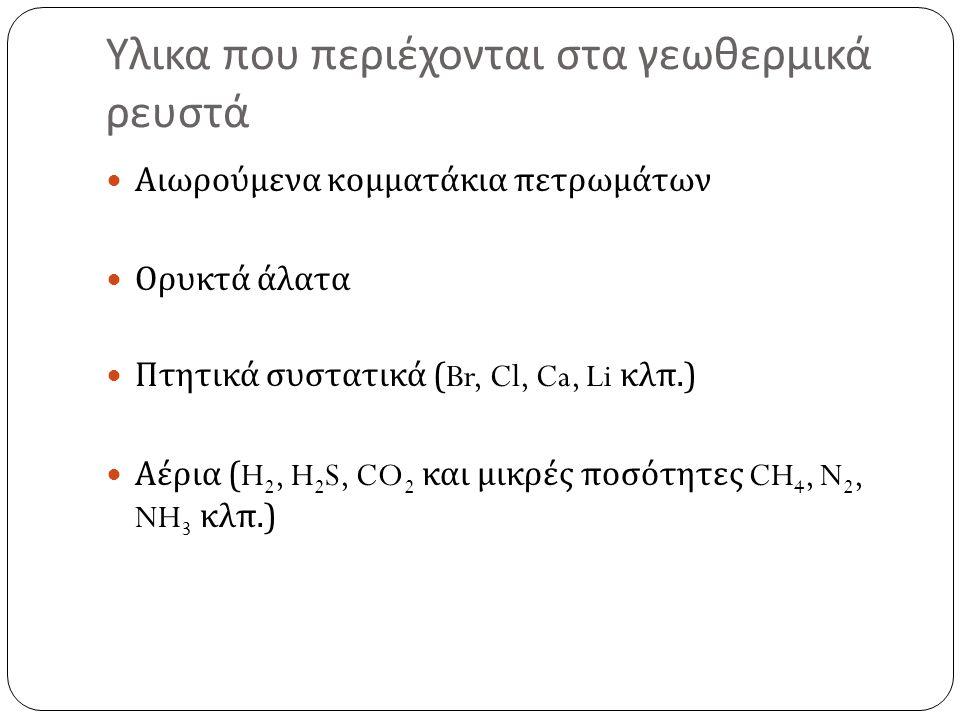 Υλικα που περιέχονται στα γεωθερμικά ρευστά Αιωρούμενα κομματάκια πετρωμάτων Ορυκτά άλατα Πτητικά συστατικά (Br, Cl, Ca, Li κλπ.) Αέρια (H 2, H 2 S, C