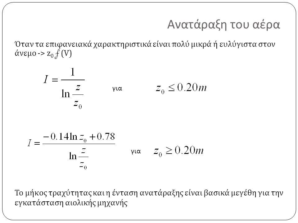 Ανατάραξη του αέρα για Το μήκος τραχύτητας και η ένταση ανατάραξης είναι βασικά μεγέθη για την εγκατάσταση αιολικής μηχανής Όταν τα επιφανειακά χαρακτηριστικά είναι πολύ μικρά ή ευλύγιστα στον άνεμο -> z 0 f (V)