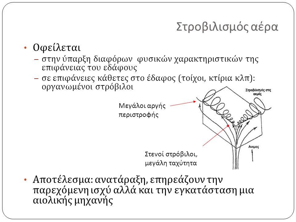 Στενοί στρόβιλοι, μεγάλη ταχύτητα Μεγάλοι αργής περιστροφής Στροβιλισμός αέρα Οφείλεται – στην ύπαρξη διαφόρων φυσικών χαρακτηριστικών της επιφάνειας του εδάφους – σε επιφάνειες κάθετες στο έδαφος ( τοίχοι, κτίρια κλπ ): οργανωμένοι στρόβιλοι Αποτέλεσμα : ανατάραξη, επηρεάζουν την παρεχόμενη ισχύ αλλά και την εγκατάσταση μια αιολικής μηχανής