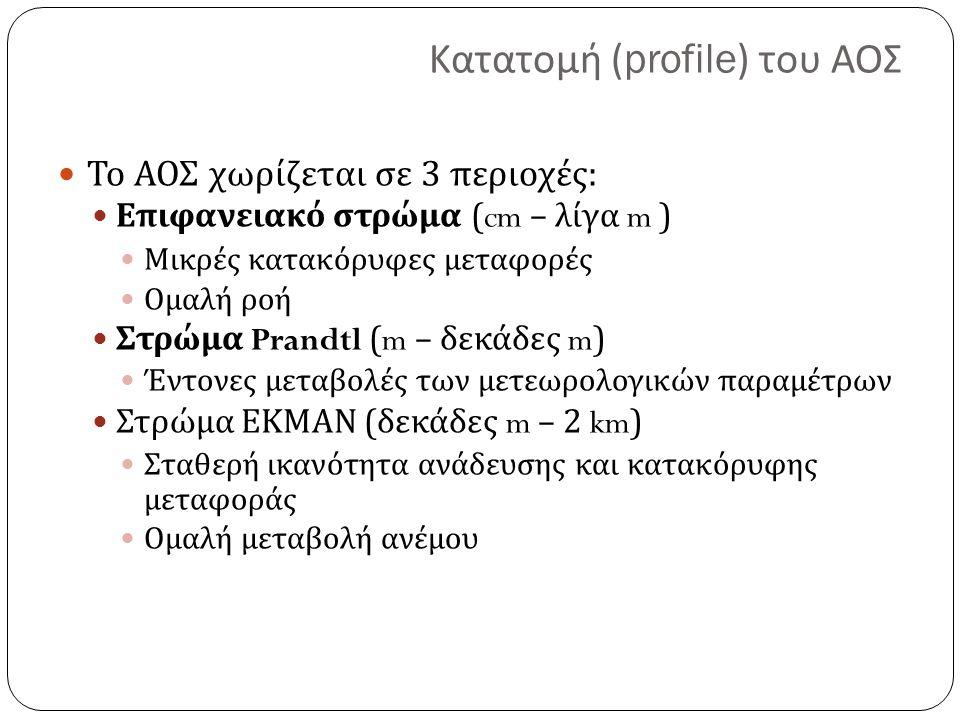 Κατατομή (profile) του ΑΟΣ Το ΑΟΣ χωρίζεται σε 3 περιοχές : Επιφανειακό στρώμα (cm – λίγα m ) Μικρές κατακόρυφες μεταφορές Ομαλή ροή Στρώμα Prandtl (m – δεκάδες m) Έντονες μεταβολές των μετεωρολογικών παραμέτρων Στρώμα ΕΚΜΑΝ ( δεκάδες m – 2 km) Σταθερή ικανότητα ανάδευσης και κατακόρυφης μεταφοράς Ομαλή μεταβολή ανέμου