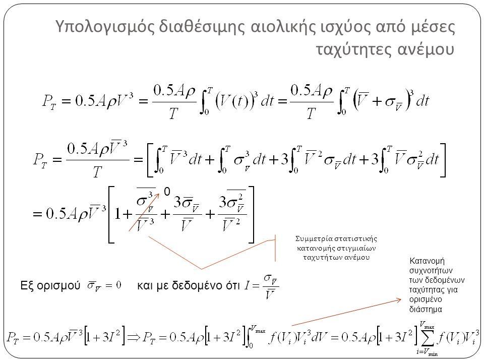Υπολογισμός διαθέσιμης αιολικής ισχύος από μέσες ταχύτητες ανέμου Εξ ορισμούκαι με δεδομένο ότι 0 Κατανομή συχνοτήτων των δεδομένων ταχύτητας για ορισμένο διάστημα Συμμετρία στατιστικής κατανομής στιγμιαίων ταχυτήτων ανέμου