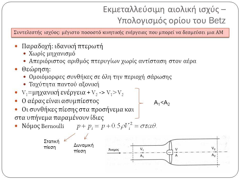 Εκμεταλλεύσιμη αιολική ισχύς – Υπολογισμός ορίου του Betz Παραδοχή : ιδανική πτερωτή Χωρίς μηχανισμό Απεριόριστος αριθμός πτερυγίων χωρίς αντίσταση στον αέρα Θεώρηση : Ομοιόμορφες συνθήκες σε όλη την περιοχή σάρωσης Ταχύτητα παντού αξονική V 1 = μηχανική ενέργεια + V 2 -> V 1 > V 2 Ο αέρας είναι ασυμπίεστος Οι συνθήκες πίεσης στα προσήνεμα και στα υπήνεμα παραμένουν ίδιες Νόμος Bernoulli Στατική πίεση Δυναμική πίεση Συντελεστής ισχύος : μέγιστο π οσοστό κινητικής ενέργειας π ου μ π ορεί να δεσμεύσει μια ΑΜ Α 1 <Α 2