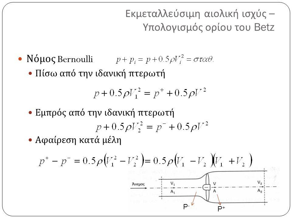 Εκμεταλλεύσιμη αιολική ισχύς – Υπολογισμός ορίου του Betz Νόμος Bernoulli Πίσω από την ιδανική πτερωτή Εμπρός από την ιδανική πτερωτή Αφαίρεση κατά μέλη P-P- P+P+
