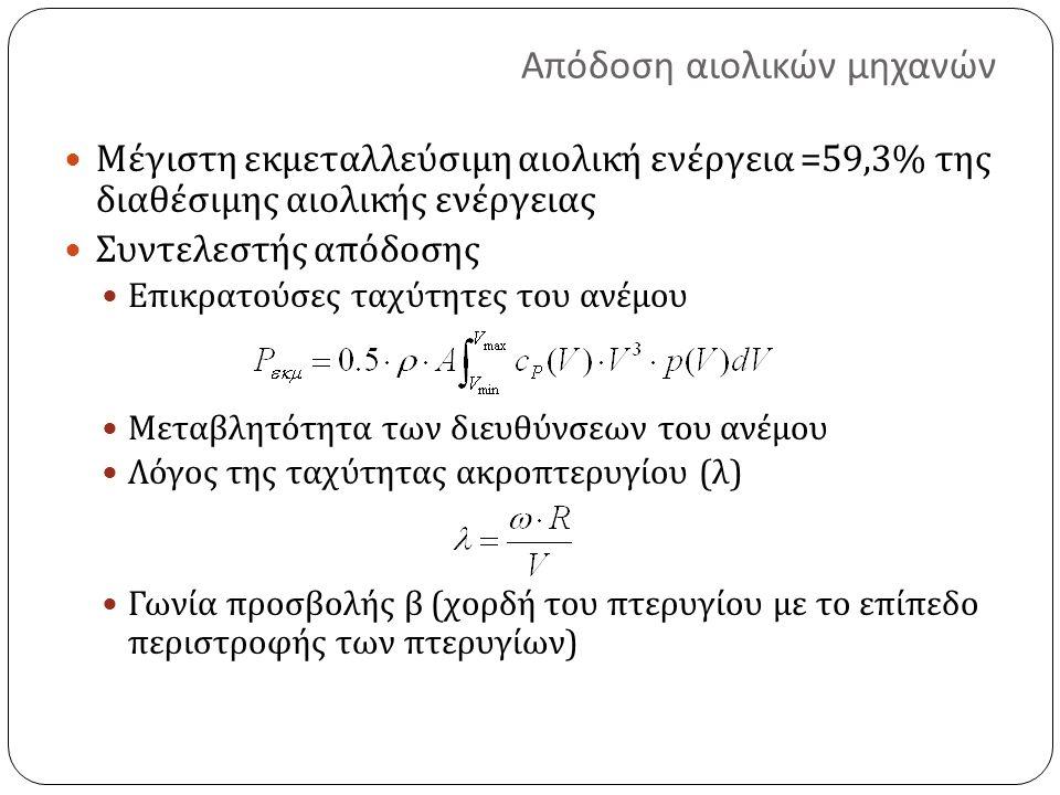 Απόδοση αιολικών μηχανών Μέγιστη εκμεταλλεύσιμη αιολική ενέργεια =59,3% της διαθέσιμης αιολικής ενέργειας Συντελεστής απόδοσης Επικρατούσες ταχύτητες του ανέμου Μεταβλητότητα των διευθύνσεων του ανέμου Λόγος της ταχύτητας ακροπτερυγίου ( λ ) Γωνία προσβολής β ( χορδή του πτερυγίου με το επίπεδο περιστροφής των πτερυγίων )