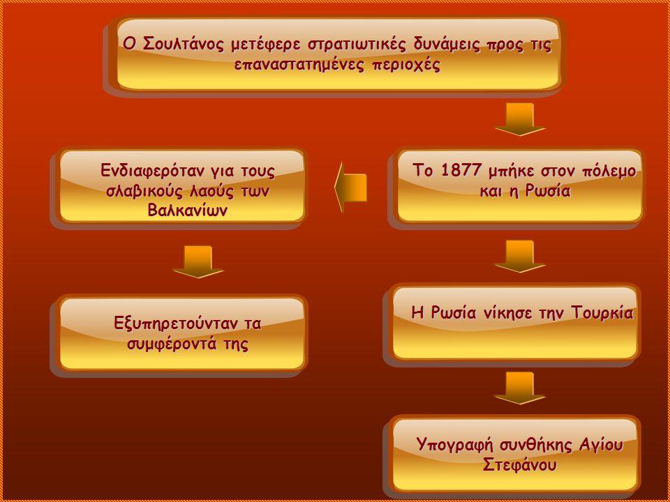 Ο Σουλτάνος μετέφερε στρατιωτικές δυνάμεις προς τις επαναστατημένες περιοχές Το 1877 μπήκε στον πόλεμο και η Ρωσία Ενδιαφερόταν για τους σλαβικούς λαούς των Βαλκανίων Εξυπηρετούνταν τα συμφέροντά της Η Ρωσία νίκησε την Τουρκία Υπογραφή συνθήκης Αγίου Στεφάνου