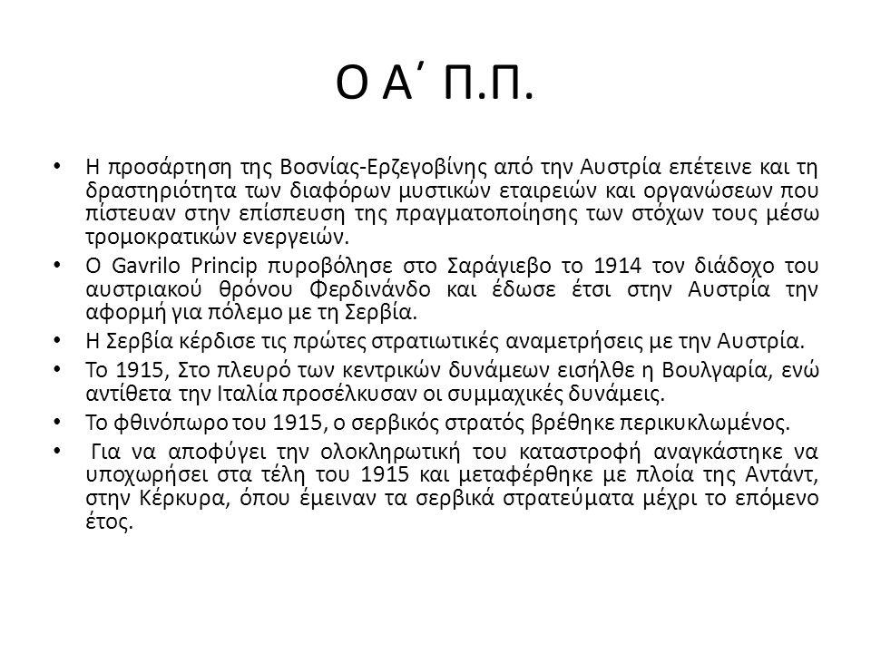 Ο Α΄ Π.Π. Η προσάρτηση της Βοσνίας-Ερζεγοβίνης από την Αυστρία επέτεινε και τη δραστηριότητα των διαφόρων μυστικών εταιρειών και οργανώσεων που πίστευ