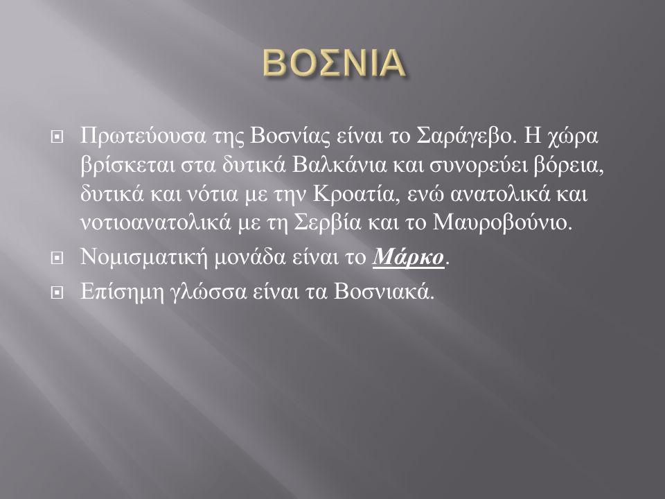  Πρωτεύουσα της Βοσνίας είναι το Σαράγεβο.