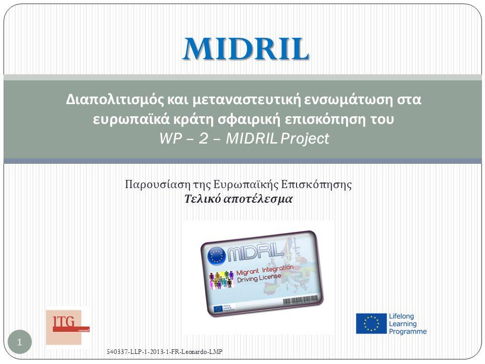 Πλαίσιο της Ευρωπαϊκής Επισκόπησης Work package 2 του MIDRIL προγράμματος : έρευνα, ανάγκη ανάλυσης .