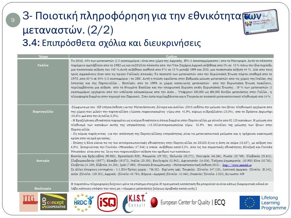 4- Ποιοτική πληροφόρηση για τους τομείς στους οποίους εργάζονται οι μετανάστες 10 Στην Κορσική οι μετανάστες είναι ό π ως στην Ελλάδα εργαζόμενοι στο τομεά υ π ηρεσίων ( οικιακές υ π ηρεσίες ): 50%; Οικοδομή (30%) και γεωρία (20%).