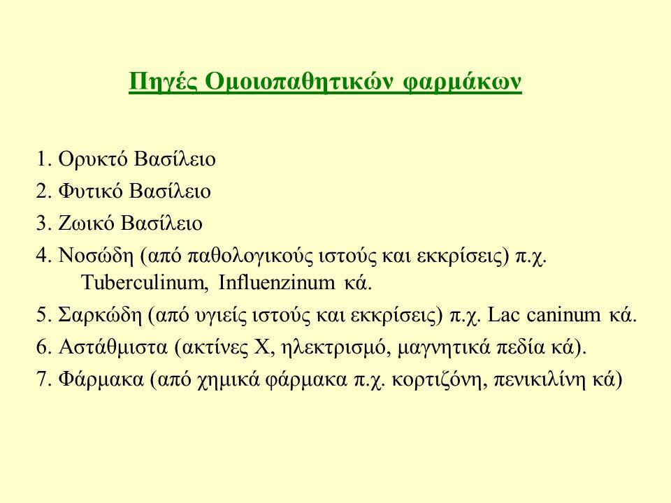 Πηγές Ομοιοπαθητικών φαρμάκων 1. Ορυκτό Βασίλειο 2.