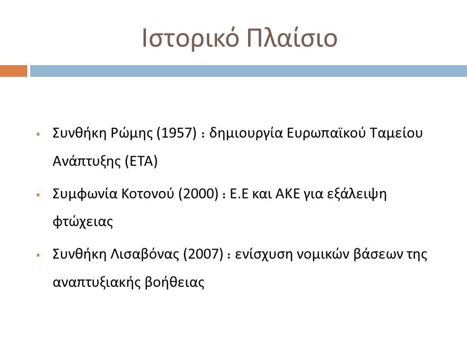 Ιστορικό Πλαίσιο  Συνθήκη Ρώμης (1957) : δημιουργία Ευρωπαϊκού Ταμείου Ανάπτυξης ( ΕΤΑ )  Συμφωνία Κοτονού (2000) : Ε. Ε και ΑΚΕ για εξάλειψη φτώχει