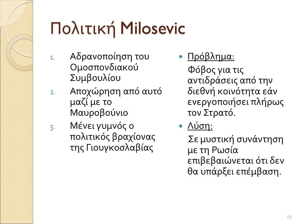 Πολιτική Milosevic 1. Αδρανοποίηση του Ομοσπονδιακού Συμβουλίου 2.