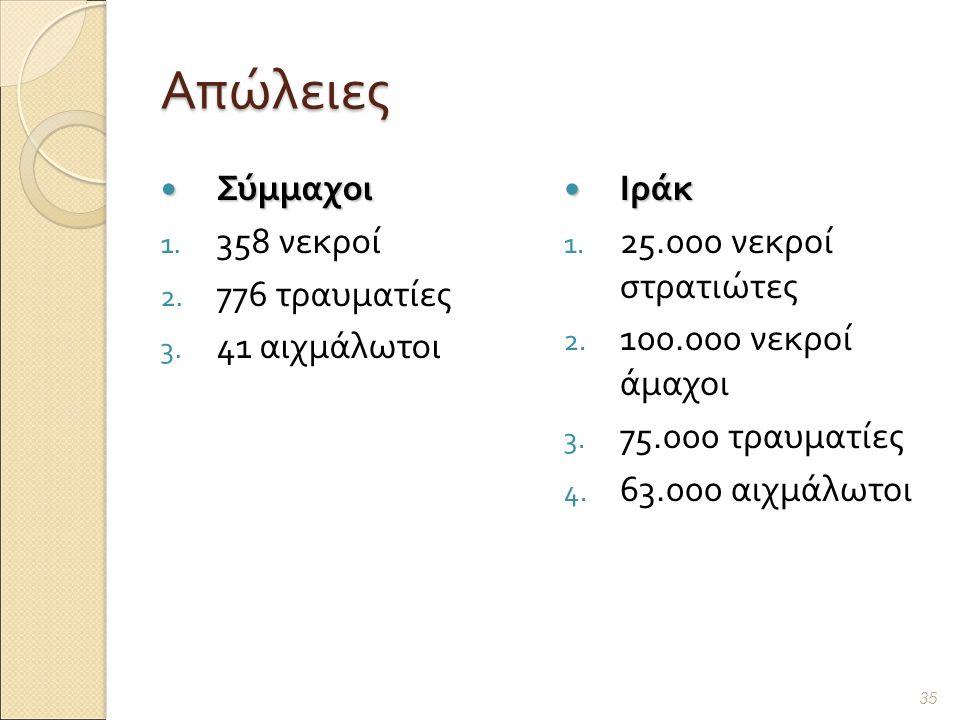 Απώλειες Σύμμαχοι Σύμμαχοι 1. 358 νεκροί 2. 776 τραυματίες 3.