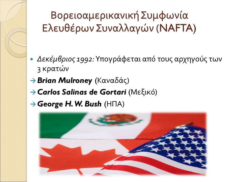 Βορειοαμερικανική Συμφωνία Ελευθέρων Συναλλαγών (NAFTA) Δεκέμβριος 1992: Υπογράφεται από τους αρχηγούς των 3 κρατών  Brian Mulroney  Brian Mulroney ( Καναδάς )  Carlos Salinas de Gortari  Carlos Salinas de Gortari ( Μεξικό )  George H.