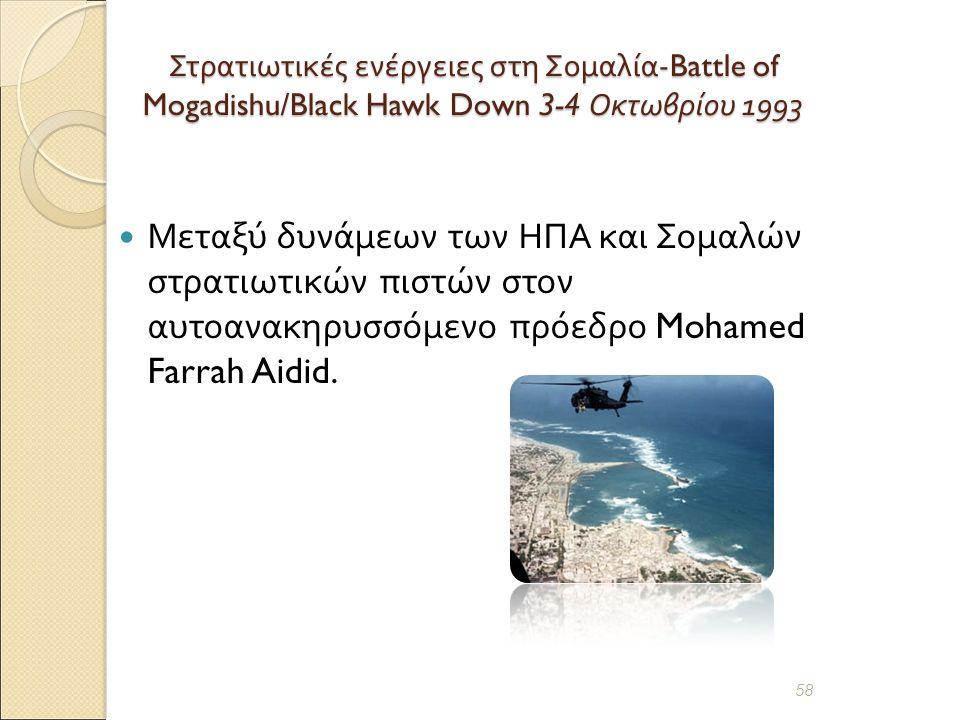 Στρατιωτικές ενέργειες στη Σομαλία -Battle of Mogadishu/Black Hawk Down 3-4 Οκτωβρίου 1993 Μεταξύ δυνάμεων των ΗΠΑ και Σομαλών στρατιωτικών πιστών στον αυτοανακηρυσσόμενο πρόεδρο Mohamed Farrah Aidid.