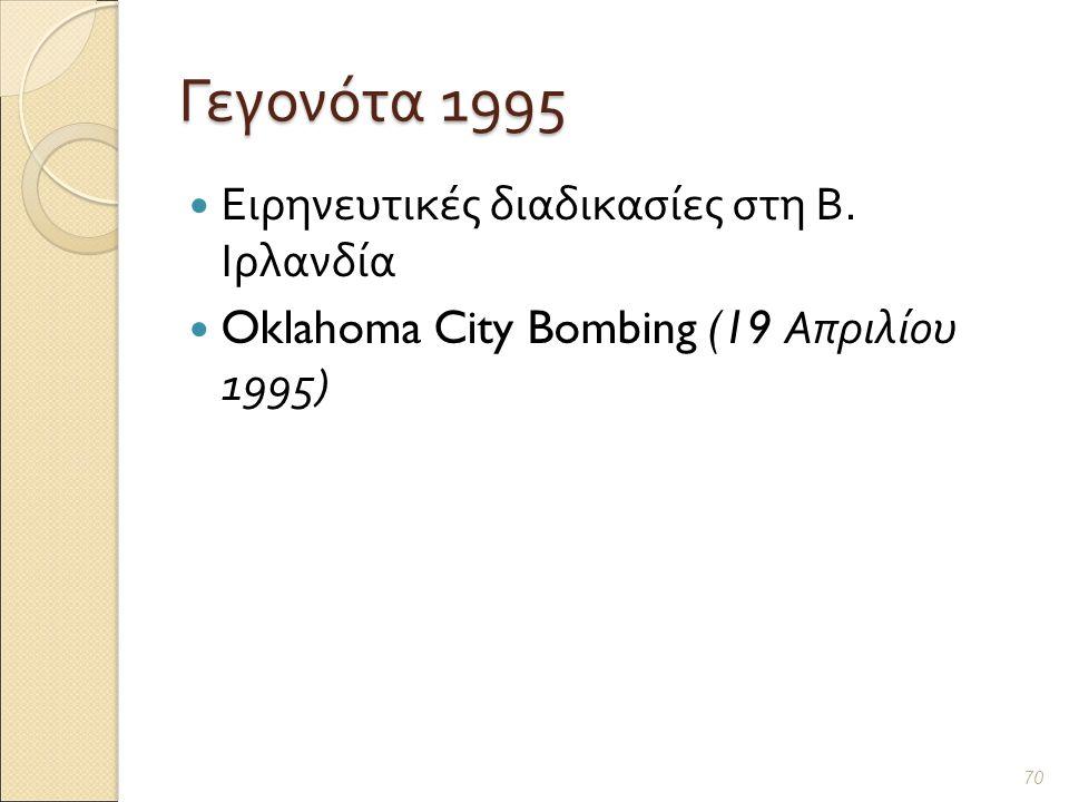 Γεγονότα 1995 Ειρηνευτικές διαδικασίες στη Β. Ιρλανδία Oklahoma City Bombing (19 Απριλίου 1995) 70