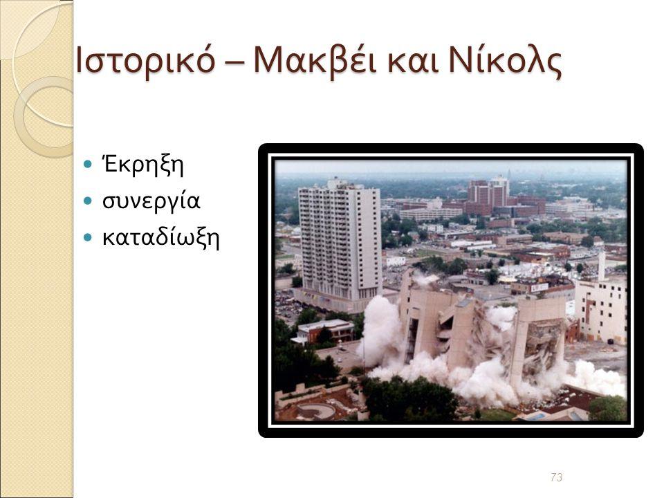 Ιστορικό – Μακβέι και Νίκολς Έκρηξη συνεργία καταδίωξη 73
