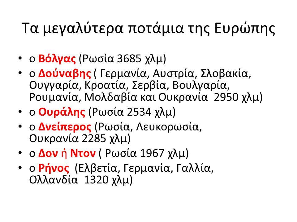 Τα μεγαλύτερα ποτάμια της Ευρώπης ο Βόλγας (Ρωσία 3685 χλμ) ο Δούναβης ( Γερμανία, Αυστρία, Σλοβακία, Ουγγαρία, Κροατία, Σερβία, Βουλγαρία, Ρουμανία, Μολδαβία και Ουκρανία 2950 χλμ) ο Ουράλης (Ρωσία 2534 χλμ) ο Δνείπερος (Ρωσία, Λευκορωσία, Ουκρανία 2285 χλμ) ο Δον ή Ντον ( Ρωσία 1967 χλμ) ο Ρήνος (Ελβετία, Γερμανία, Γαλλία, Ολλανδία 1320 χλμ)