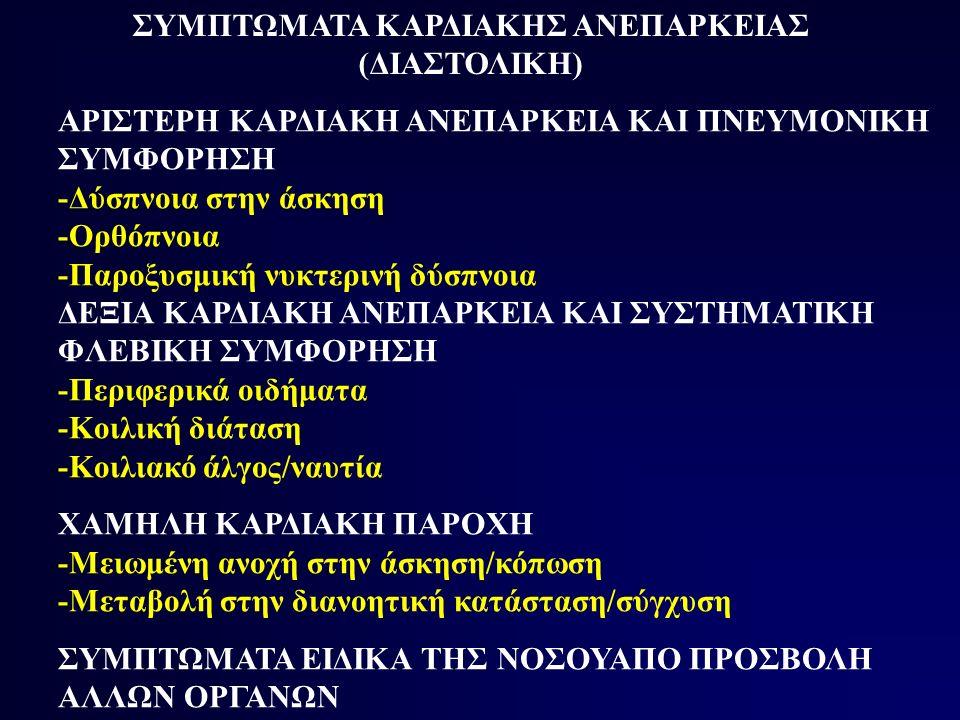 ΦΥΣΙΚΗ ΕΞΕΤΑΣΗ ΣΤΗΝ ΠΕΡΙΟΡΙΣΤΙΚΗ ΜΥΟΚΑΡΔΙΟΠΑΘΕΙΑ ΑΡΙΣΤΕΡΗ ΚΑΡΔΙΑΚΗ ΑΝΕΠΑΡΚΕΙΑ ΚΑΙ ΠΝΕΥΜΟΝΙΚΗ ΣΥΜΦΟΡΗΣΗ -Υποτρίζοντες πνευμόνων -Τρίτος και τέταρτος καρδιακός ήχος αριστερής κοιλίας ΔΕΞΙΑ ΚΑΡΔΙΑΚΗ ΑΝΕΠΑΡΚΕΙΑ ΚΑΙ ΣΥΣΤΗΜΑΤΙΚΗ ΦΛΕΒΙΚΗ ΣΥΜΦΟΡΗΣΗ -Περιφερικό οίδημα -Αυξημένη σφαγιτιδική πίεση (διατήρηση χ και αύξηση y κυμάτων) -Ηπατοσφαγιτιδικό σημείο -Ηπατομεγαλία -Ασκίτης -Τρίτος και τέταρτος καρδιακός τόνος δεξιάς κοιλίας -Μείωση αναπνευστικών ήχων και αμβλύτητα στην επίκρουση ΧΑΜΗΛΗ ΚΑΡΔΙΑΚΗ ΠΑΡΟΧΗ - -Ταχυκαρδία -Μείωση πίεσης σφυγμού -Υπόταση -Ψυχρά άκρα ΣΗΜΕΙΑ ΕΙΔΙΚΑ ΤΗΣ ΝΟΣΟΥ ΑΠΟ ΠΡΟΣΒΟΛΗ ΑΛΛΩΝ ΟΡΓΑΝΩΝ