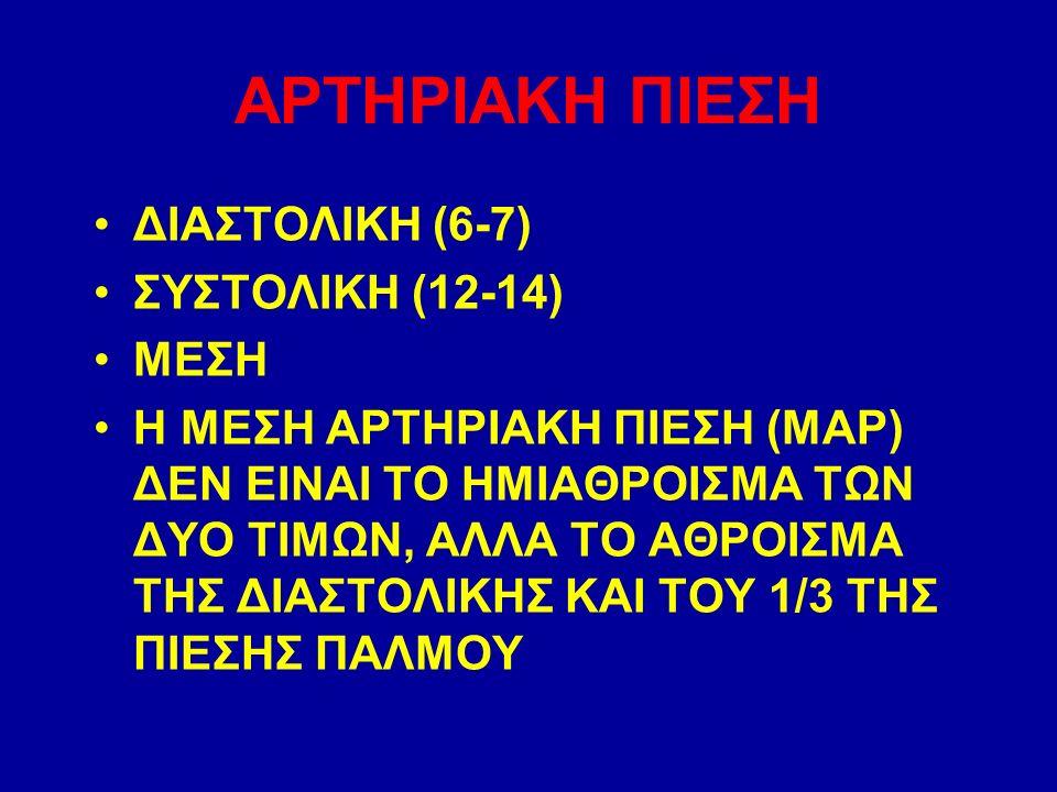 ΑΡΤΗΡΙΑΚΗ ΠΙΕΣΗ ΔΙΑΣΤΟΛΙΚΗ (6-7) ΣΥΣΤΟΛΙΚΗ (12-14) ΜΕΣΗ Η ΜΕΣΗ ΑΡΤΗΡΙΑΚΗ ΠΙΕΣΗ (ΜΑΡ) ΔΕΝ ΕΙΝΑΙ ΤΟ ΗΜΙΑΘΡΟΙΣΜΑ ΤΩΝ ΔΥΟ ΤΙΜΩΝ, ΑΛΛΑ ΤΟ ΑΘΡΟΙΣΜΑ ΤΗΣ ΔΙΑΣΤΟΛΙΚΗΣ ΚΑΙ ΤΟΥ 1/3 ΤΗΣ ΠΙΕΣΗΣ ΠΑΛΜΟΥ