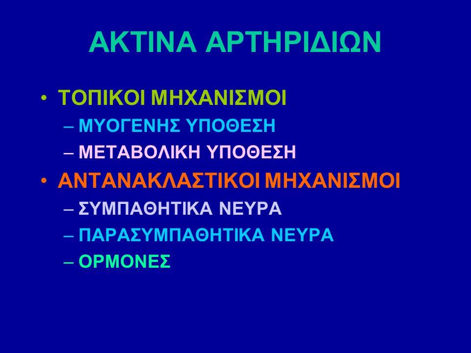ΑΚΤΙΝΑ ΑΡΤΗΡΙΔΙΩΝ ΤΟΠΙΚΟΙ ΜΗΧΑΝΙΣΜΟΙ –ΜΥΟΓΕΝΗΣ ΥΠΟΘΕΣΗ –ΜΕΤΑΒΟΛΙΚΗ ΥΠΟΘΕΣΗ ΑΝΤΑΝΑΚΛΑΣΤΙΚΟΙ ΜΗΧΑΝΙΣΜΟΙ –ΣΥΜΠΑΘΗΤΙΚΑ ΝΕΥΡΑ –ΠΑΡΑΣΥΜΠΑΘΗΤΙΚΑ ΝΕΥΡΑ –ΟΡΜΟΝΕΣ