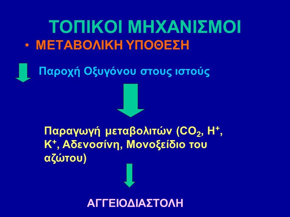 ΤΟΠΙΚΟΙ ΜΗΧΑΝΙΣΜΟΙ ΜΕΤΑΒΟΛΙΚΗ ΥΠΟΘΕΣΗ Παροχή Οξυγόνου στους ιστούς Παραγωγή μεταβολιτών (CO 2, H +, K +, Αδενοσίνη, Μονοξείδιο του αζώτου) ΑΓΓΕΙΟΔΙΑΣΤΟΛΗ
