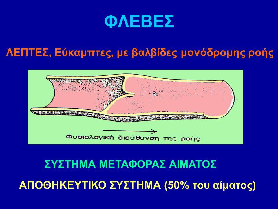 ΦΛΕΒΕΣ ΛΕΠΤΕΣ, Εύκαμπτες, με βαλβίδες μονόδρομης ροής ΣΥΣΤΗΜΑ ΜΕΤΑΦΟΡΑΣ ΑΙΜΑΤΟΣ ΑΠΟΘΗΚΕΥΤΙΚΟ ΣΥΣΤΗΜΑ (50% του αίματος)