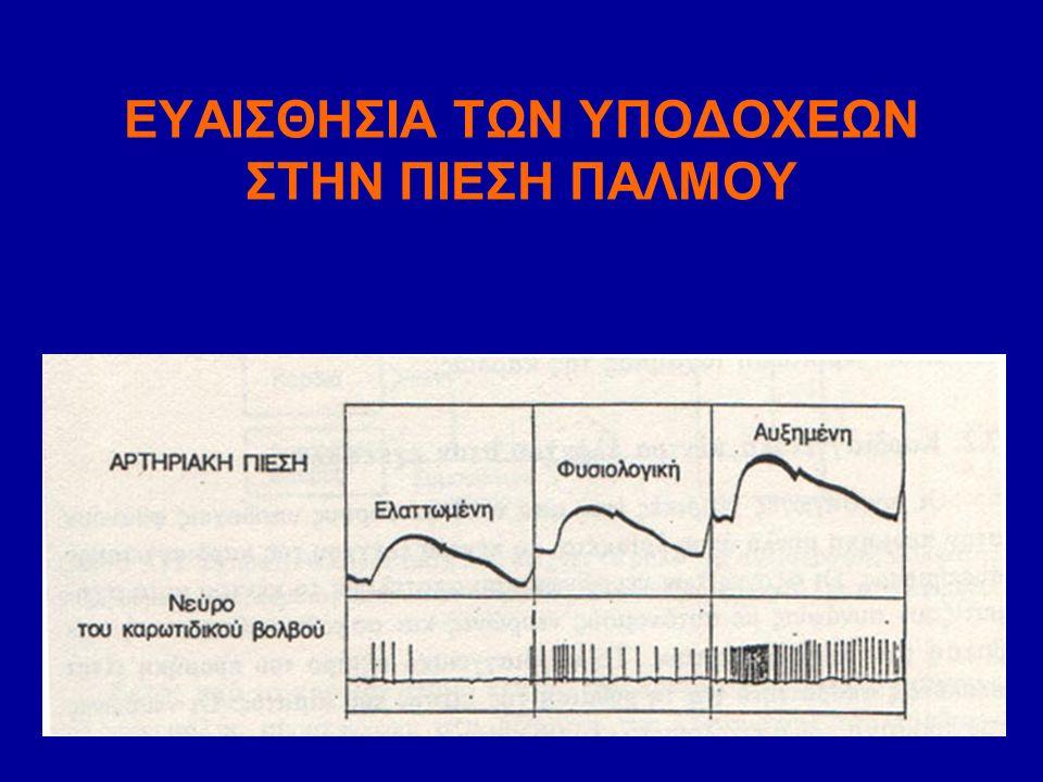 ΧΗΜΕΙΟΫΠΟΔΟΧΕΙΣ Είναι ευαίσθητοι στη συγκέντρωση των αρτηριακών: Ο 2, CO 2, H + και υπάρχουν: 1)Αορτή 2)Καρωτιδικές αρτηρίες Επηρεάζουν σε μικρό βαθμό την αρτηριακή πίεση