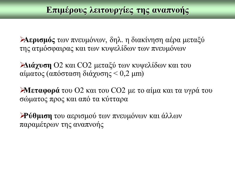 Επιμέρους λειτουργίες της αναπνοής  Αερισμός των πνευμόνων, δηλ. η διακίνηση αέρα μεταξύ της ατμόσφαιρας και των κυψελίδων των πνευμόνων  Διάχυση Ο2