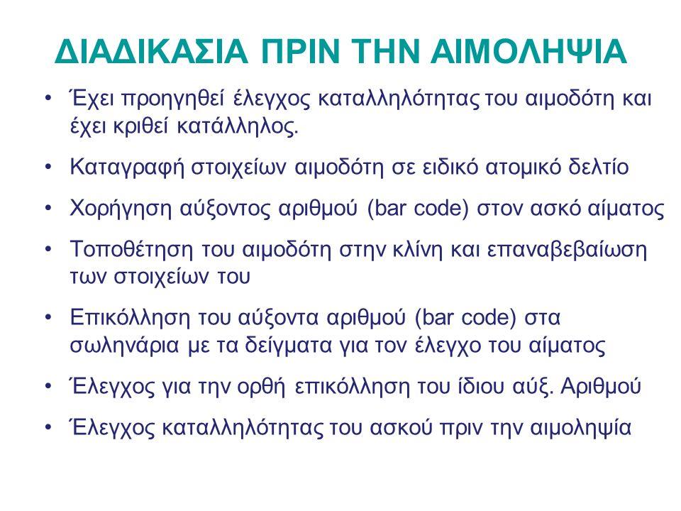 ΔΙΑΔΙΚΑΣΙΑ ΑΙΜΟΛΗΨΙΑΣ 1.