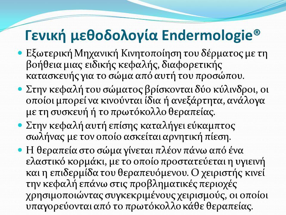 Γενική μεθοδολογία Endermologie® Εξωτερική Μηχανική Κινητοποίηση του δέρματος με τη βοήθεια μιας ειδικής κεφαλής, διαφορετικής κατασκευής για το σώμα από αυτή του προσώπου.