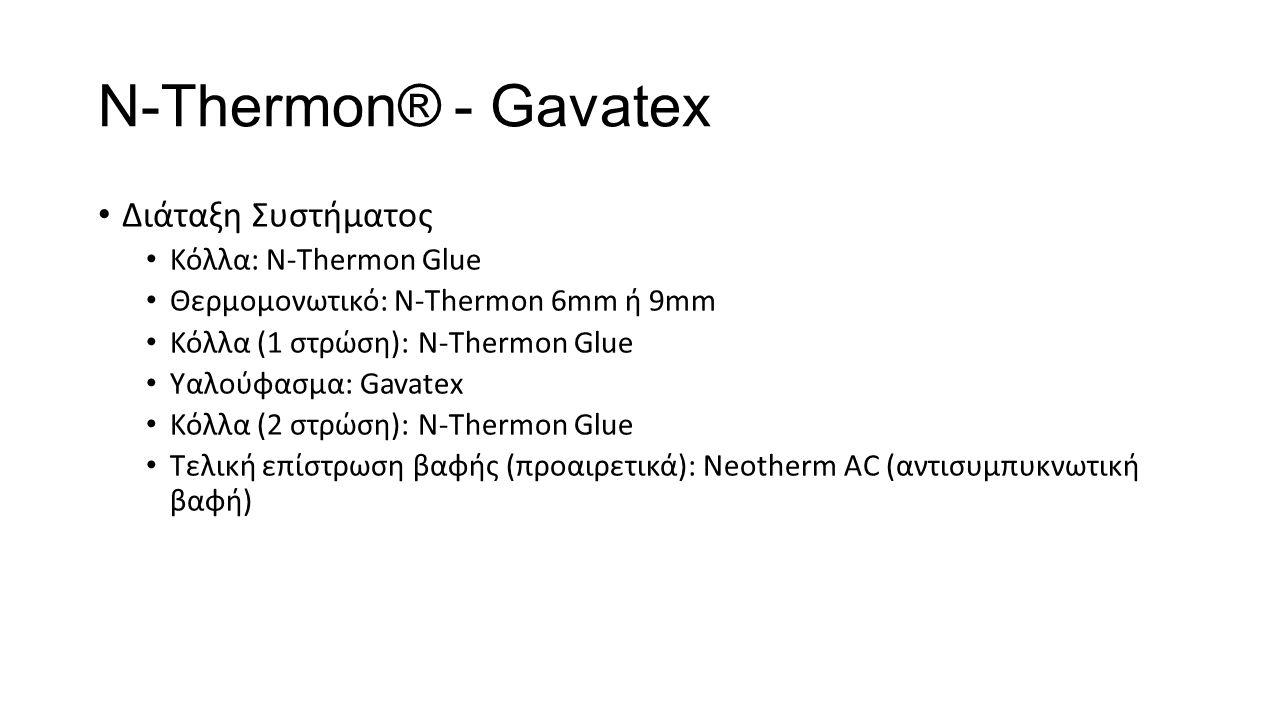N-Τhermon® - Gavatex Διάταξη Συστήματος Κόλλα: N-Thermon Glue Θερμομονωτικό: N-Thermon 6mm ή 9mm Κόλλα (1 στρώση): N-Thermon Glue Υαλούφασμα: Gavatex