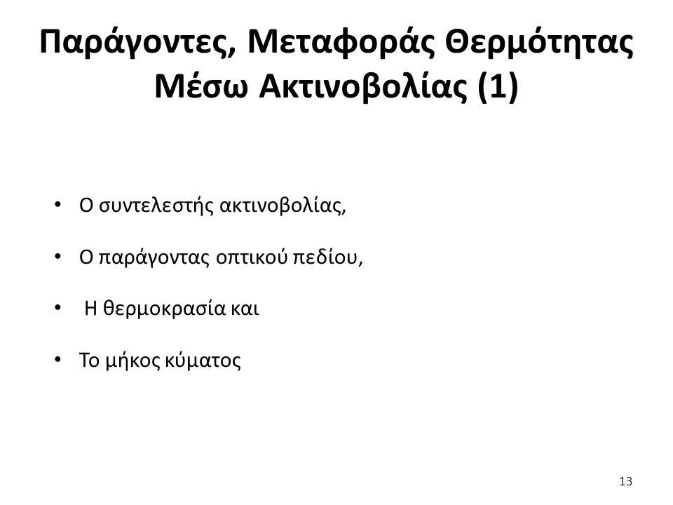 Παράγοντες, Μεταφοράς Θερμότητας Μέσω Ακτινοβολίας (1) Ο συντελεστής ακτινοβολίας, Ο παράγοντας οπτικού πεδίου, Η θερμοκρασία και Το μήκος κύματος 13