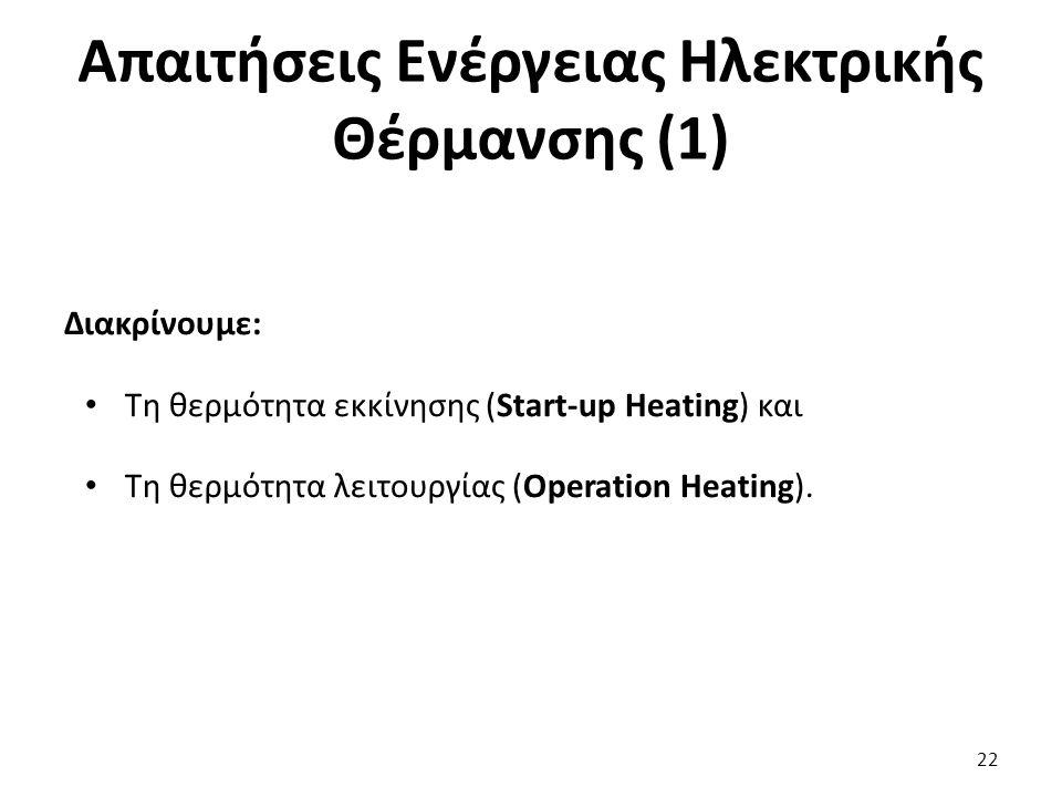 Απαιτήσεις Ενέργειας Ηλεκτρικής Θέρμανσης (1) Διακρίνουμε: Τη θερμότητα εκκίνησης (Start-up Heating) και Τη θερμότητα λειτουργίας (Operation Heating).