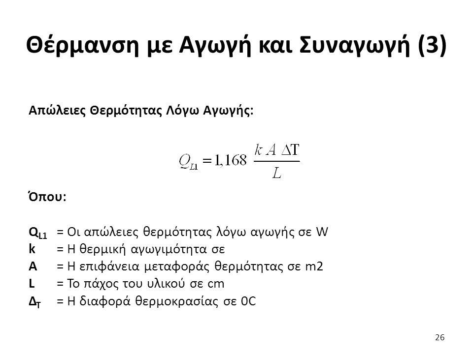 Θέρμανση με Αγωγή και Συναγωγή (3) Απώλειες Θερμότητας Λόγω Αγωγής: Όπου: Q L1 = Οι απώλειες θερμότητας λόγω αγωγής σε W k= Η θερμική αγωγιμότητα σε Α= Η επιφάνεια μεταφοράς θερμότητας σε m2 L= Το πάχος του υλικού σε cm Δ Τ = Η διαφορά θερμοκρασίας σε 0C 26