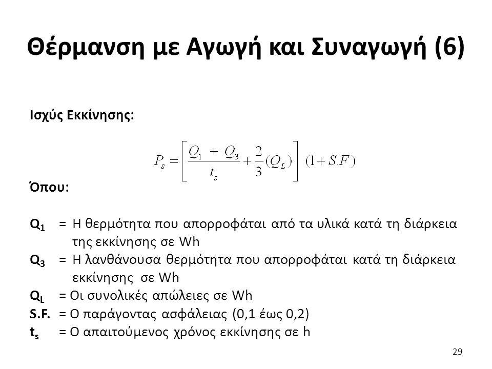 Θέρμανση με Αγωγή και Συναγωγή (6) Ισχύς Εκκίνησης: Όπου: Q 1 = Η θερμότητα που απορροφάται από τα υλικά κατά τη διάρκεια της εκκίνησης σε Wh Q 3 = Η λανθάνουσα θερμότητα που απορροφάται κατά τη διάρκεια εκκίνησης σε Wh Q L = Οι συνολικές απώλειες σε Wh S.F.= Ο παράγοντας ασφάλειας (0,1 έως 0,2) t s = Ο απαιτούμενος χρόνος εκκίνησης σε h 29