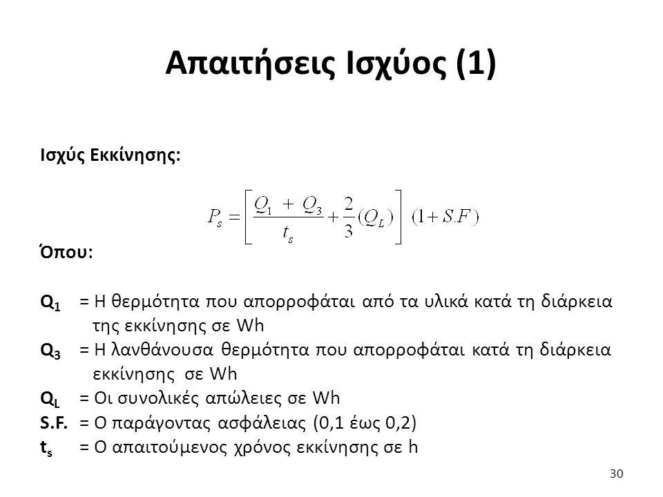 Απαιτήσεις Ισχύος (1) Ισχύς Εκκίνησης: Όπου: Q 1 = Η θερμότητα που απορροφάται από τα υλικά κατά τη διάρκεια της εκκίνησης σε Wh Q 3 = Η λανθάνουσα θερμότητα που απορροφάται κατά τη διάρκεια εκκίνησης σε Wh Q L = Οι συνολικές απώλειες σε Wh S.F.= Ο παράγοντας ασφάλειας (0,1 έως 0,2) t s = Ο απαιτούμενος χρόνος εκκίνησης σε h 30