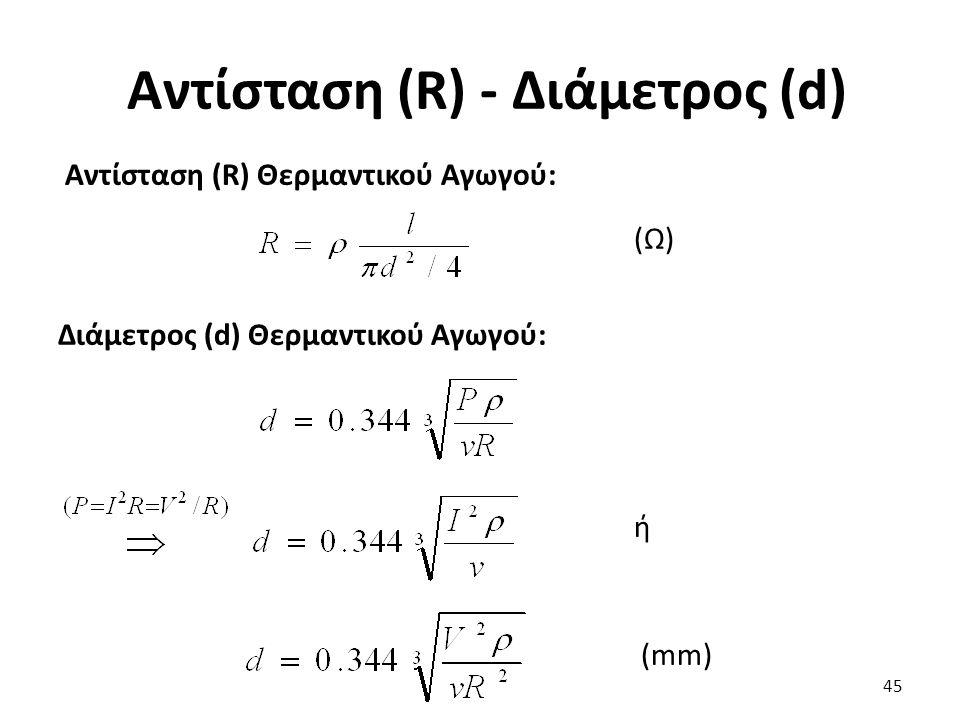 Αντίσταση (R) - Διάμετρος (d) 45 Αντίσταση (R) Θερμαντικού Αγωγού: (Ω) Διάμετρος (d) Θερμαντικού Αγωγού: ή (mm)