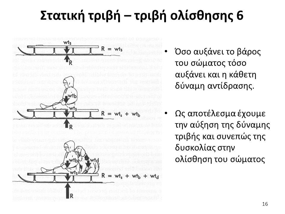 Στατική τριβή – τριβή ολίσθησης 6 Όσο αυξάνει το βάρος του σώματος τόσο αυξάνει και η κάθετη δύναμη αντίδρασης.