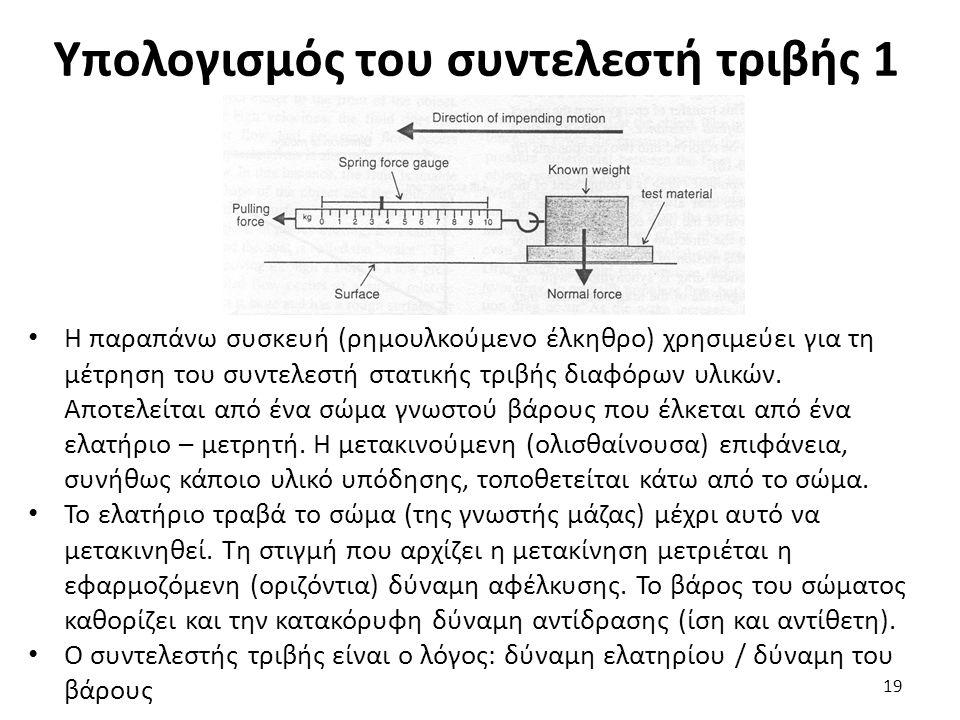 Υπολογισμός του συντελεστή τριβής 1 Η παραπάνω συσκευή (ρημουλκούμενο έλκηθρο) χρησιμεύει για τη μέτρηση του συντελεστή στατικής τριβής διαφόρων υλικών.