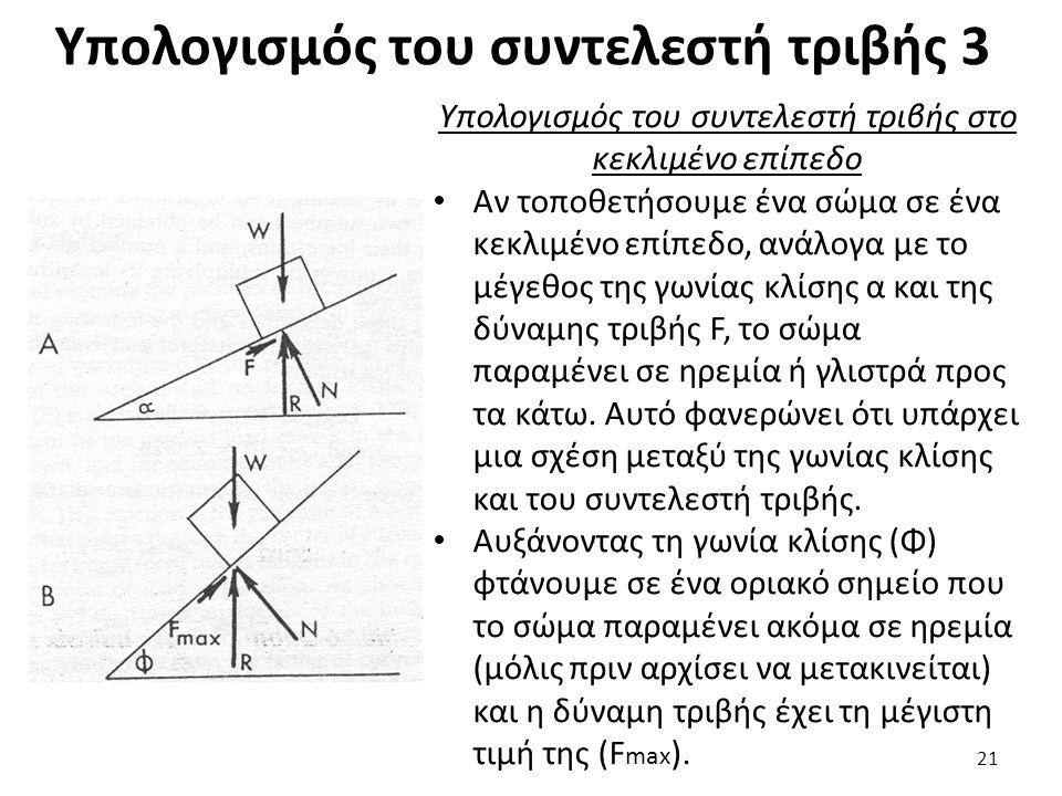 Υπολογισμός του συντελεστή τριβής 3 Υπολογισμός του συντελεστή τριβής στο κεκλιμένο επίπεδο Αν τοποθετήσουμε ένα σώμα σε ένα κεκλιμένο επίπεδο, ανάλογα με το μέγεθος της γωνίας κλίσης α και της δύναμης τριβής F, το σώμα παραμένει σε ηρεμία ή γλιστρά προς τα κάτω.