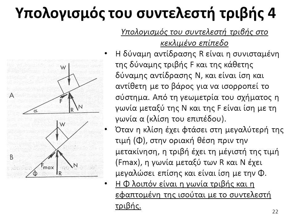 Υπολογισμός του συντελεστή τριβής 4 Υπολογισμός του συντελεστή τριβής στο κεκλιμένο επίπεδο Η δύναμη αντίδρασης R είναι η συνισταμένη της δύναμης τριβής F και της κάθετης δύναμης αντίδρασης N, και είναι ίση και αντίθετη με το βάρος για να ισορροπεί το σύστημα.