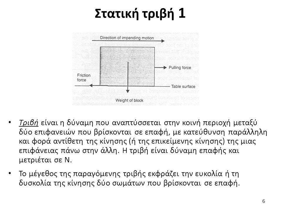 Συντελεστής τριβής 1 Η δύναμη τριβής είναι ανάλογη της κάθετης δύναμης αντίδρασης (R) που αναπτύσσεται κατακόρυφα (κάθετα στην επιφάνεια επαφής): F = μ * R όπου μ είναι ο συντελεστής τριβής και R η κάθετη δύναμη αντίδρασης Ο συντελεστής τριβής υπολογίζεται: μ = F/R 17