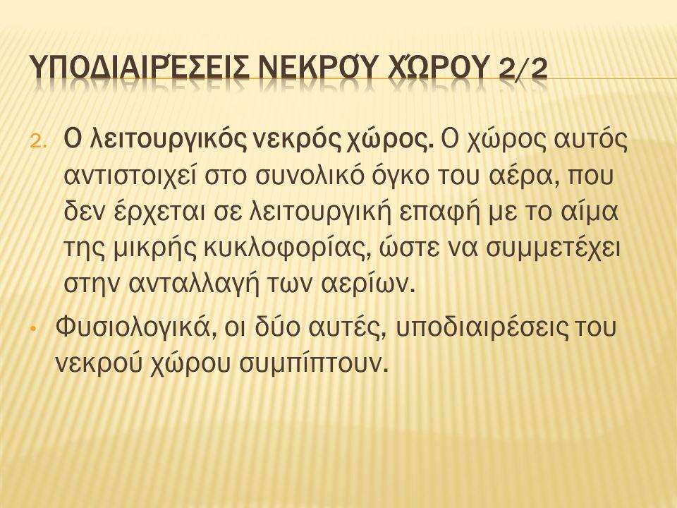 Ο νεκρός χώρος υποδιαιρείται σε δύο τμήματα, τα οποία είναι τα ακόλουθα: 1.